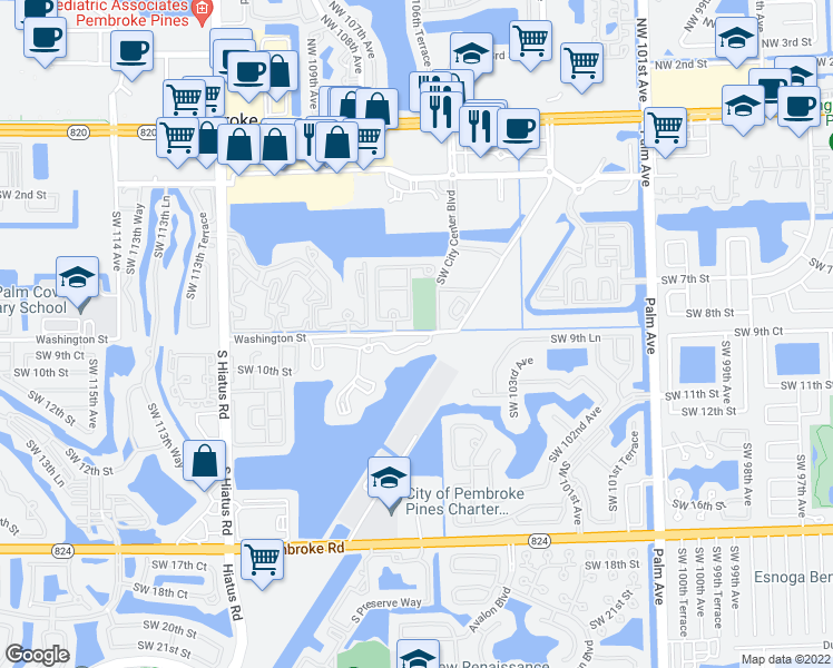 map of restaurants, bars, coffee shops, grocery stores, and more near 10612 Southwest 8th Street in Pembroke Pines