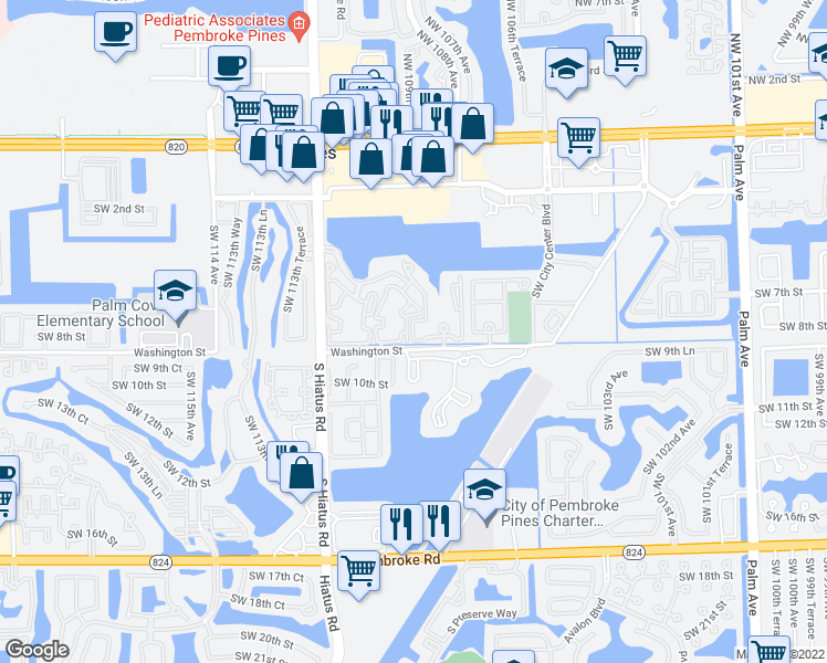 map of restaurants, bars, coffee shops, grocery stores, and more near 700 Southwest 110th Avenue in Pembroke Pines
