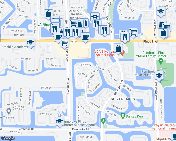 map of restaurants, bars, coffee shops, grocery stores, and more near 423 Southwest 183rd Terrace in Pembroke Pines