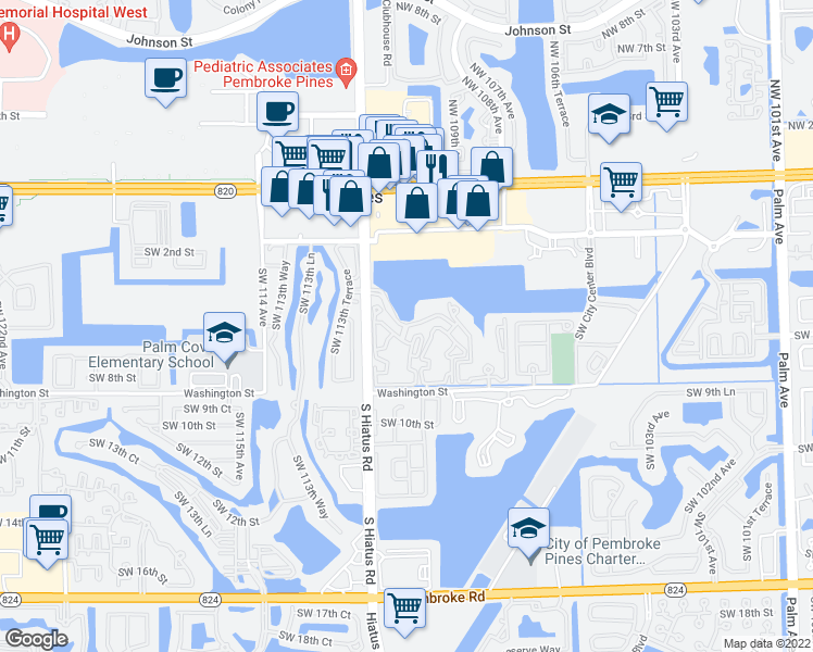 map of restaurants, bars, coffee shops, grocery stores, and more near 631 Southwest 111th Lane in Pembroke Pines