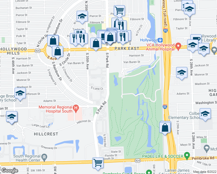 map of restaurants, bars, coffee shops, grocery stores, and more near 559-599 South Park Road in Hollywood