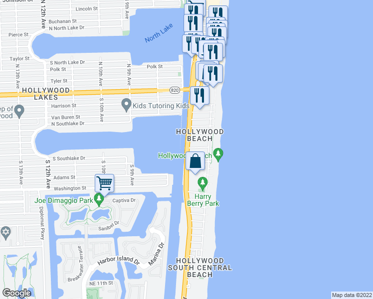 map of restaurants, bars, coffee shops, grocery stores, and more near 901 South Ocean Drive in Hollywood