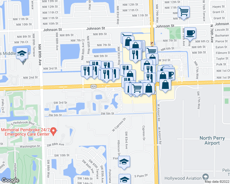 map of restaurants, bars, coffee shops, grocery stores, and more near 8398 Pines Blvd in Fort Lauderdale