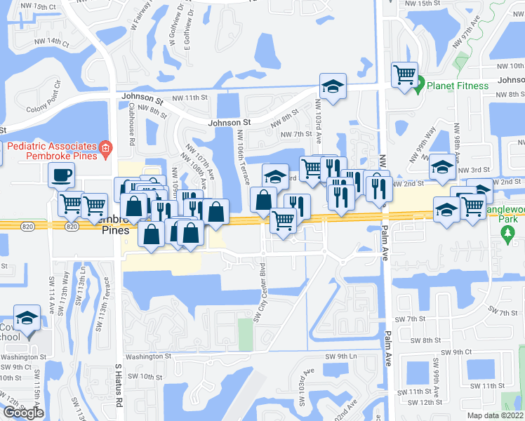 map of restaurants, bars, coffee shops, grocery stores, and more near 10600 NW 1st St in Pembroke Pines
