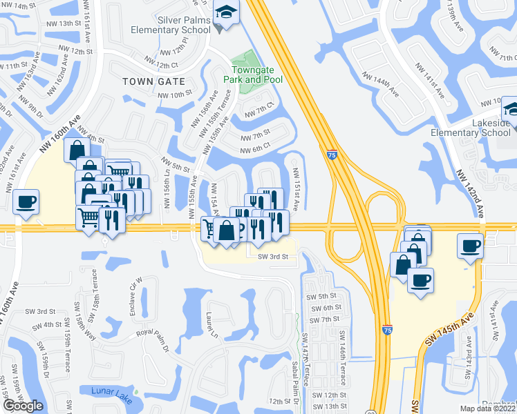 map of restaurants, bars, coffee shops, grocery stores, and more near 15271 Northwest 1st Street in Pembroke Pines