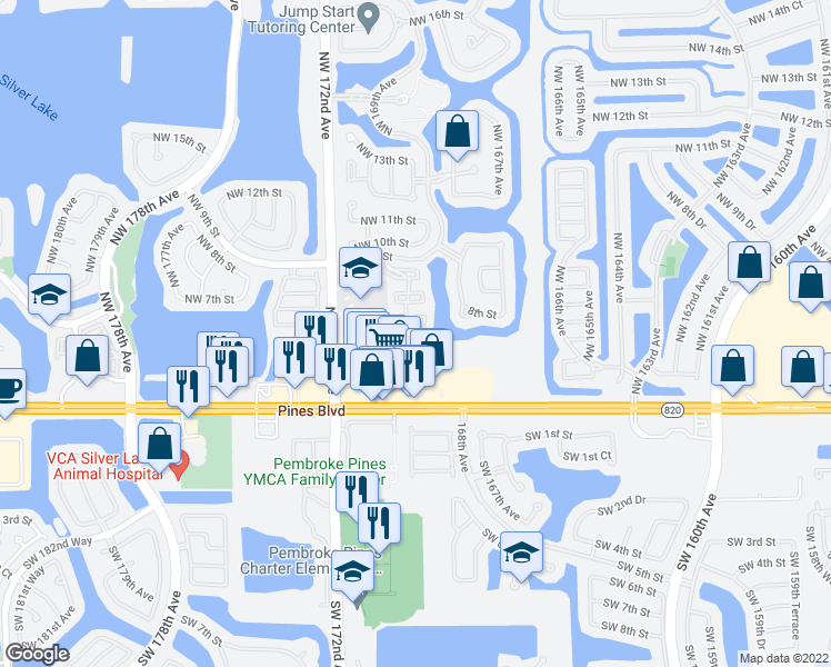 map of restaurants, bars, coffee shops, grocery stores, and more near 603 Northwest 170th Terrace in Pembroke Pines