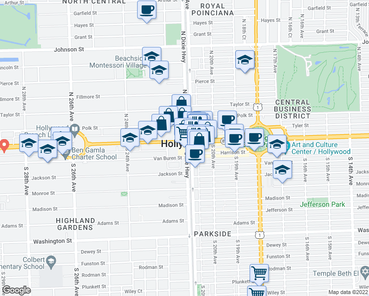 map of restaurants, bars, coffee shops, grocery stores, and more near None in Hollywood