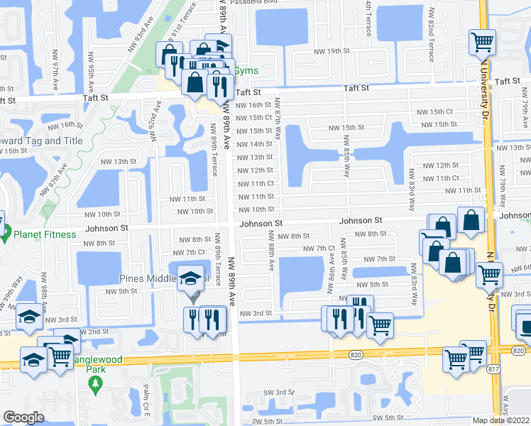 map of restaurants, bars, coffee shops, grocery stores, and more near 8800 Johnson St in Pembroke Pines