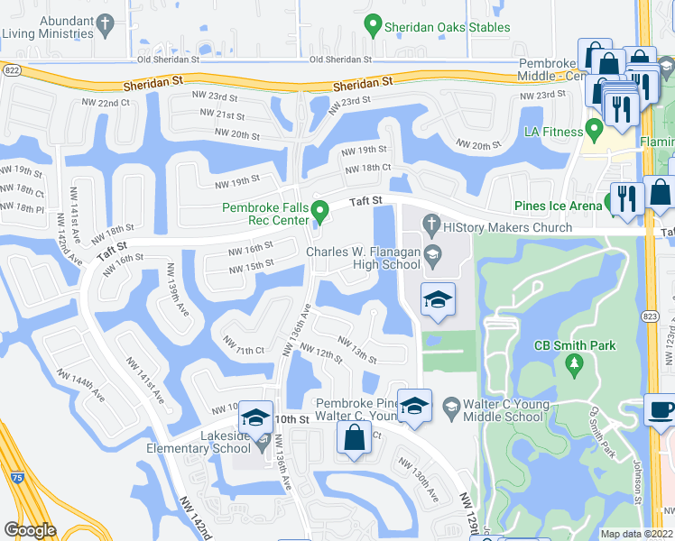 map of restaurants, bars, coffee shops, grocery stores, and more near NW 15th Ct in Pembroke Pines