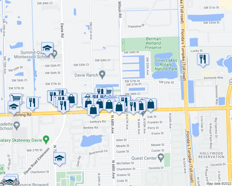 map of restaurants, bars, coffee shops, grocery stores, and more near 6113 Southwest 57th Street in Davie