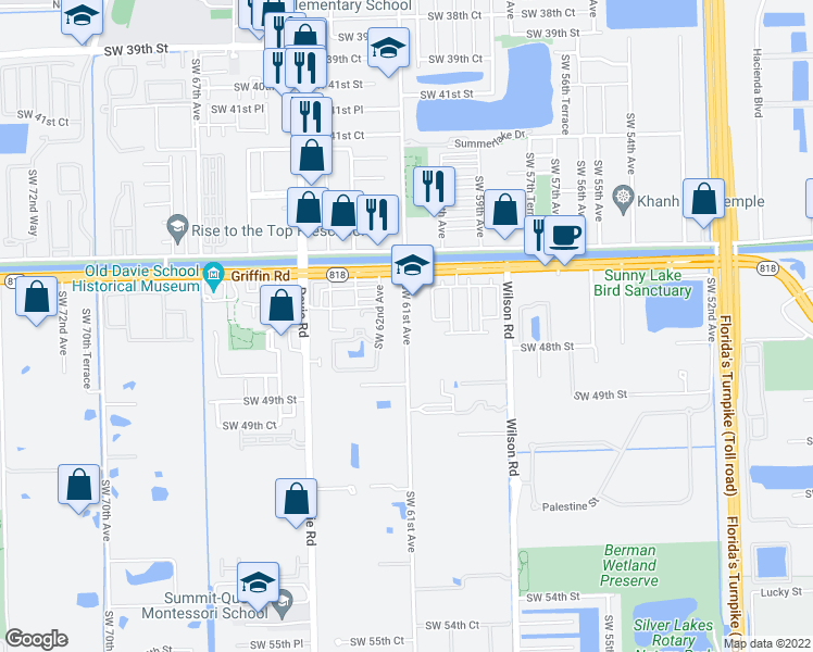 map of restaurants, bars, coffee shops, grocery stores, and more near 4710 SW 61st Ave in Davie