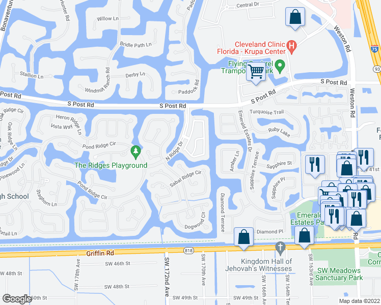 map of restaurants, bars, coffee shops, grocery stores, and more near 3945 San Simeon Ln in Weston
