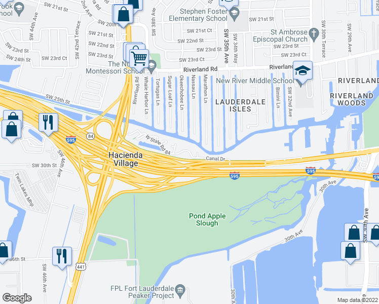 map of restaurants, bars, coffee shops, grocery stores, and more near 3500-3798 Canal Drive in Davie
