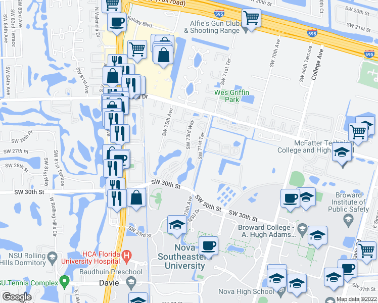 map of restaurants, bars, coffee shops, grocery stores, and more near None in Fort Lauderdale