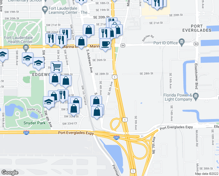 map of restaurants, bars, coffee shops, grocery stores, and more near SE 6th Ave & SE 30th St in Fort Lauderdale