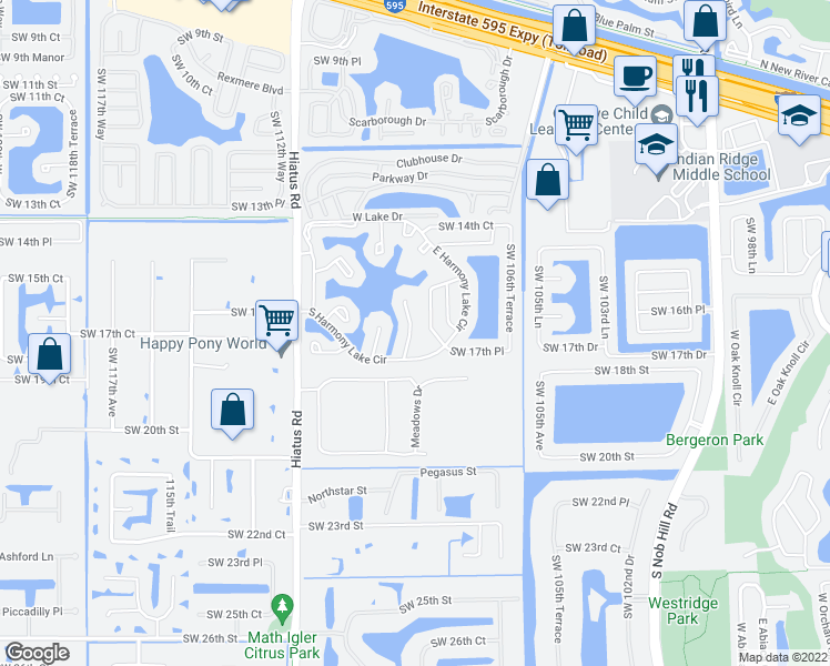 map of restaurants, bars, coffee shops, grocery stores, and more near 1736 Southwest 109th Terrace in Davie