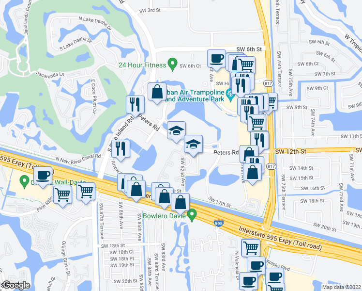 map of restaurants, bars, coffee shops, grocery stores, and more near 8191 Peters Road in Plantation