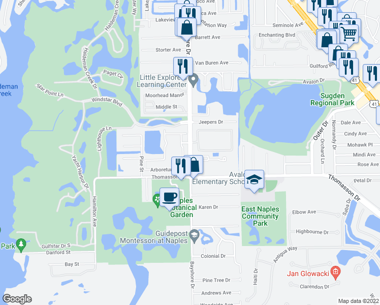 map of restaurants, bars, coffee shops, grocery stores, and more near 4620-4658 Bayshore Drive in Naples