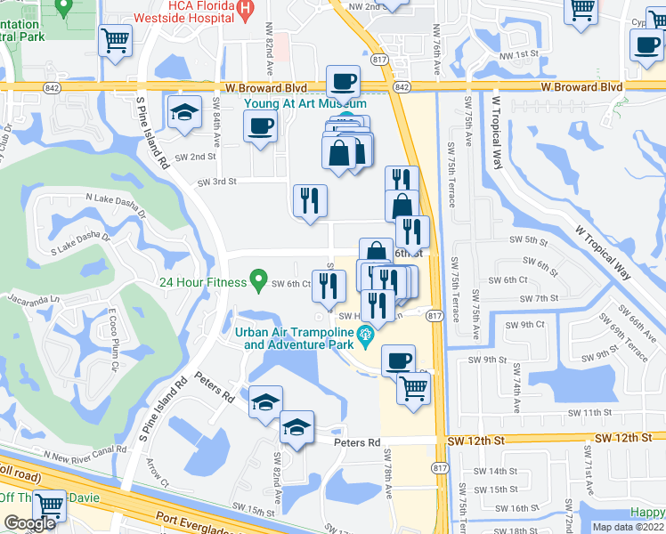 map of restaurants, bars, coffee shops, grocery stores, and more near 7800-8050 SW 6th St in Plantation