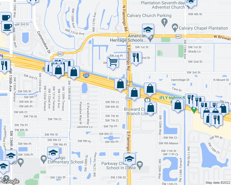 map of restaurants, bars, coffee shops, grocery stores, and more near 12500-12538 Southwest 5th Street in Davie