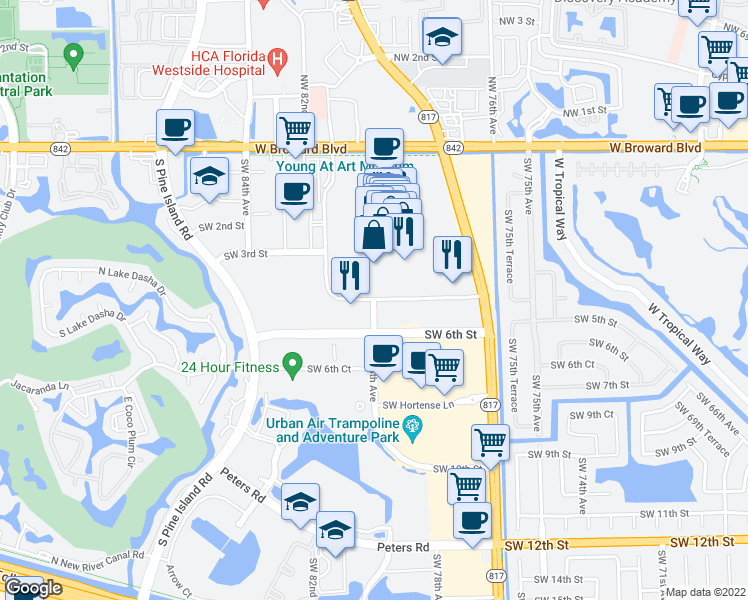 map of restaurants, bars, coffee shops, grocery stores, and more near Federated Rd in Plantation