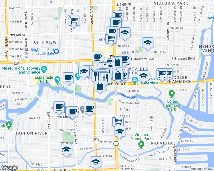 map of restaurants, bars, coffee shops, grocery stores, and more near 401 East Las Olas Boulevard in Fort Lauderdale
