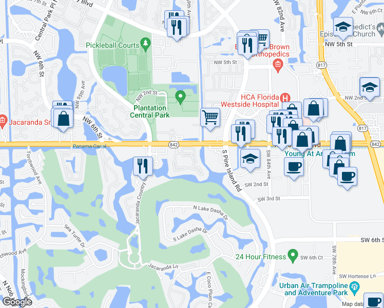 map of restaurants, bars, coffee shops, grocery stores, and more near 150 SW 91st Ave in Plantation