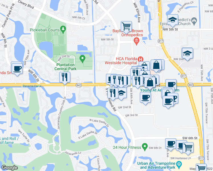 map of restaurants, bars, coffee shops, grocery stores, and more near 8801-8975 West Broward Boulevard in Plantation