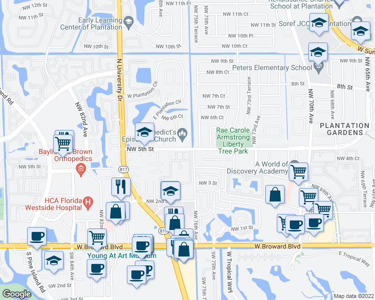 map of restaurants, bars, coffee shops, grocery stores, and more near 7801 Northwest 5th Street in Plantation