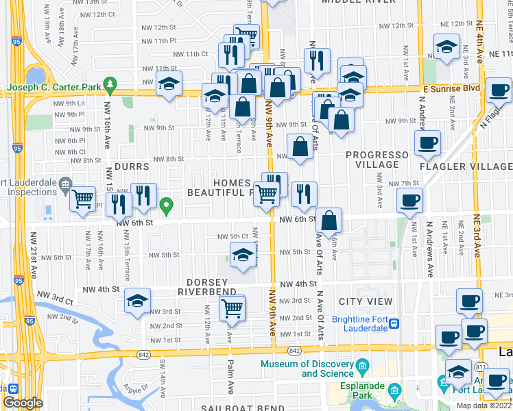 map of restaurants, bars, coffee shops, grocery stores, and more near 623 Northwest 9th Avenue in Fort Lauderdale