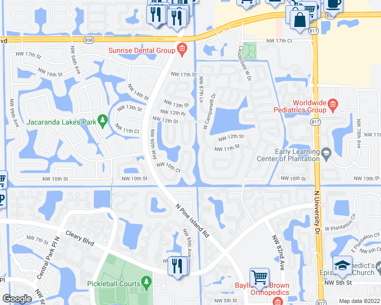 map of restaurants, bars, coffee shops, grocery stores, and more near 1070 Northwest 88th Way in Plantation