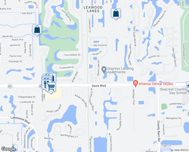 map of restaurants, bars, coffee shops, grocery stores, and more near 1262 Jardin Dr in Naples