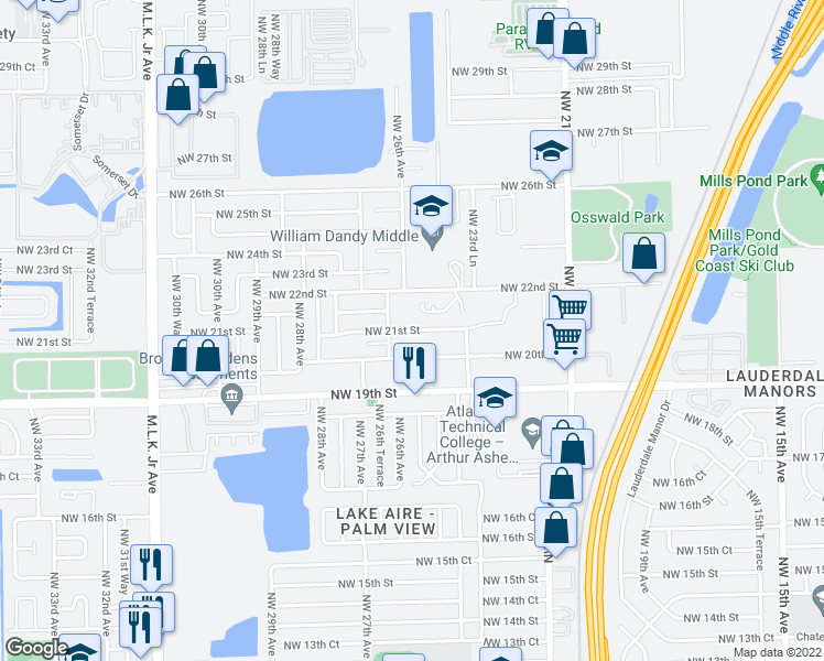 map of restaurants, bars, coffee shops, grocery stores, and more near 2517 Northwest 21st Street in Fort Lauderdale