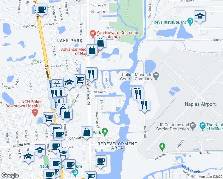 map of restaurants, bars, coffee shops, grocery stores, and more near 1400 5th Avenue North in Naples