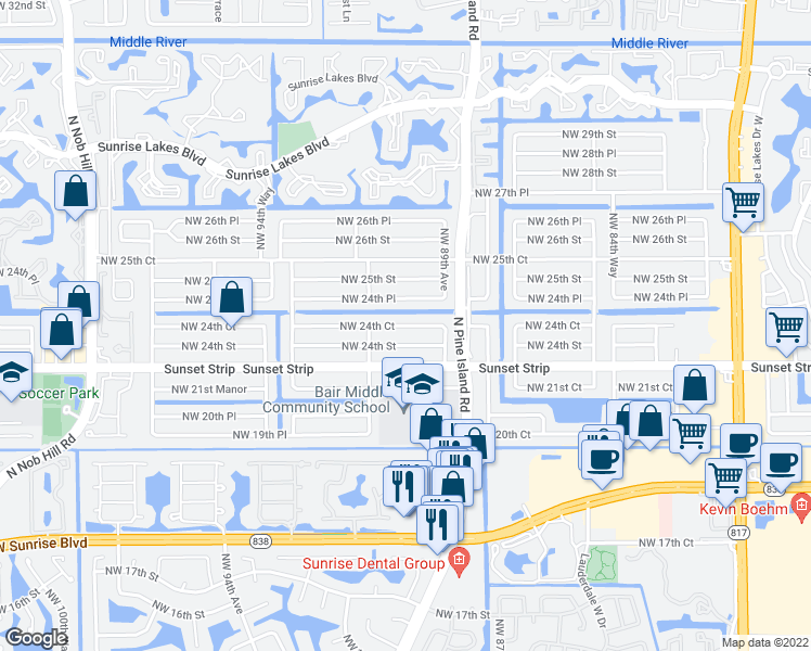 map of restaurants, bars, coffee shops, grocery stores, and more near in Fort Lauderdale