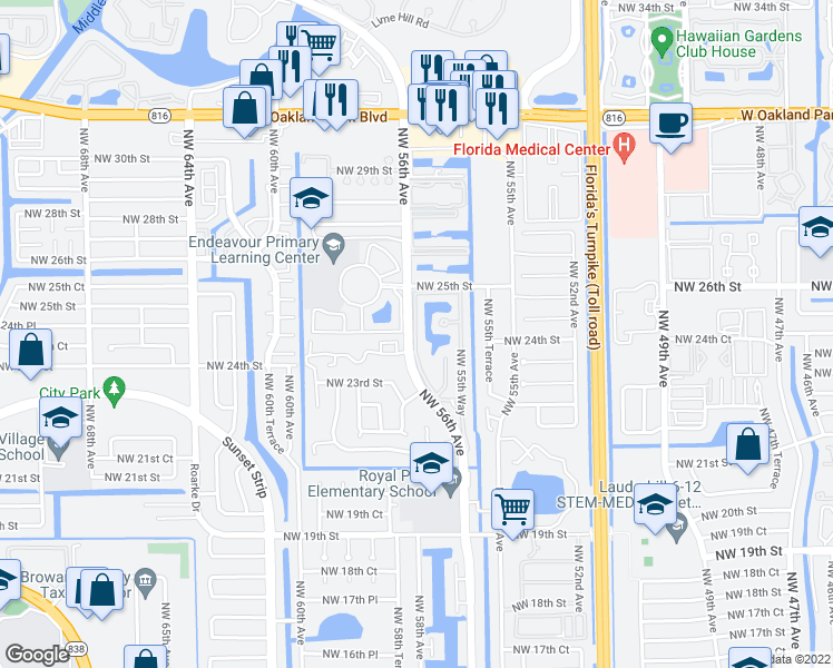 map of restaurants, bars, coffee shops, grocery stores, and more near 2172-2270 Northwest 56th Avenue in Lauderhill