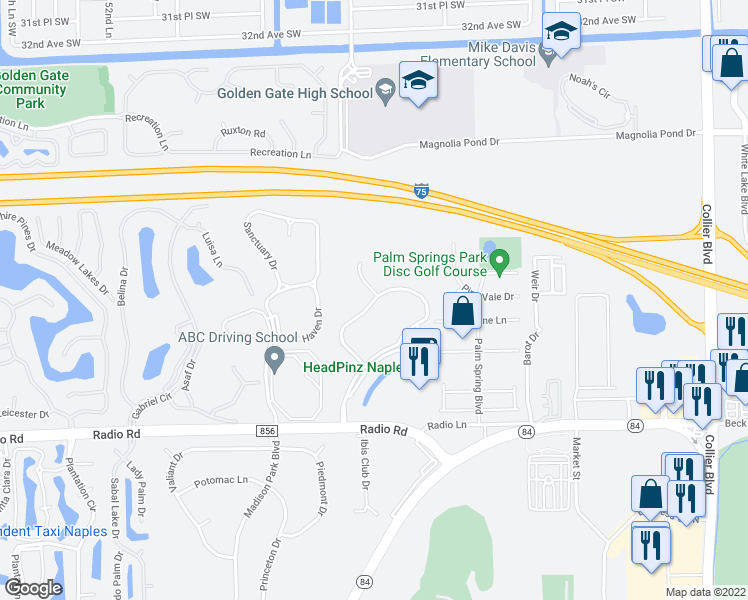 map of restaurants, bars, coffee shops, grocery stores, and more near 480 Robin Hood Circle in Naples