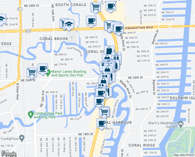 map of restaurants, bars, coffee shops, grocery stores, and more near 2109 Northeast 26th Street in Wilton Manors