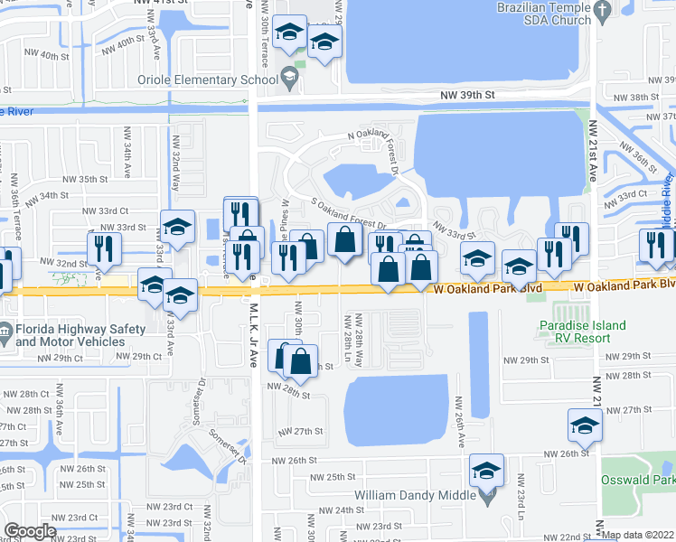map of restaurants, bars, coffee shops, grocery stores, and more near 2899 E Oakland Park Blvd in Oakland Park