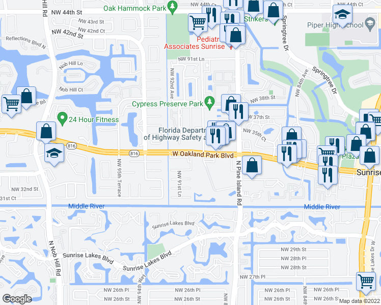 map of restaurants, bars, coffee shops, grocery stores, and more near 9001 West Oakland Park Boulevard in Sunrise