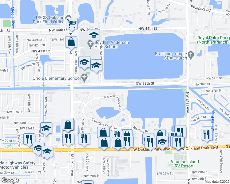 map of restaurants, bars, coffee shops, grocery stores, and more near 2810 North Oakland Forest Drive in Oakland Park