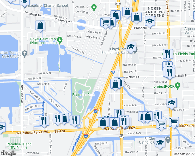 map of restaurants, bars, coffee shops, grocery stores, and more near Northwest 38th Street in Oakland Park