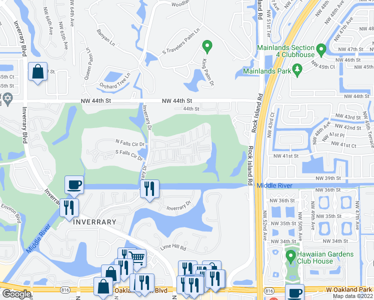 map of restaurants, bars, coffee shops, grocery stores, and more near 4158 Inverrary Dr in Lauderhill