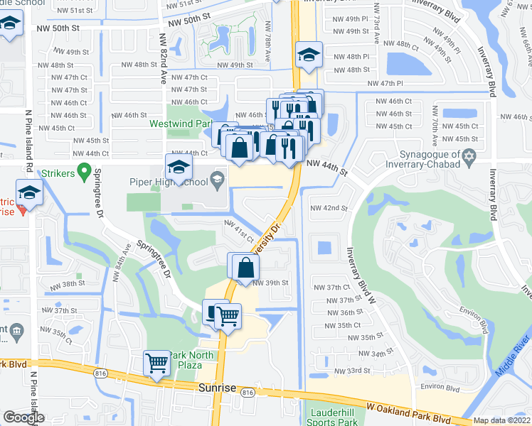 map of restaurants, bars, coffee shops, grocery stores, and more near 4255 North University Drive in Sunrise