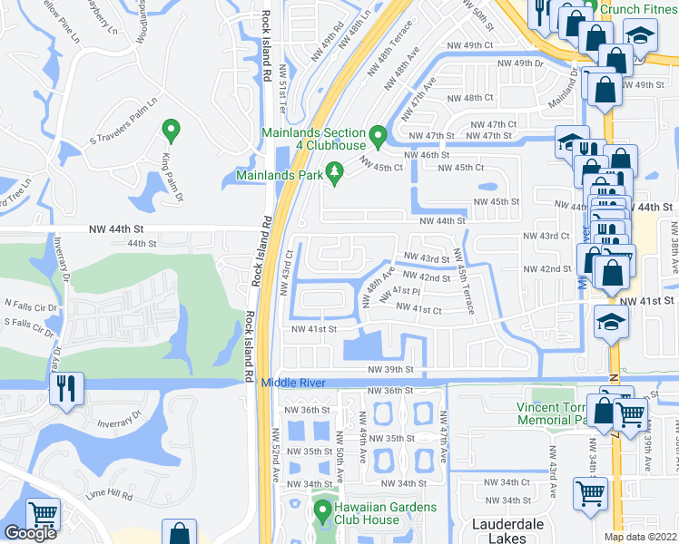 map of restaurants, bars, coffee shops, grocery stores, and more near Northwest 50th Avenue in Lauderdale Lakes