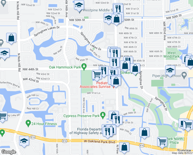 map of restaurants, bars, coffee shops, grocery stores, and more near 4225 North Pine Island Road in Fort Lauderdale