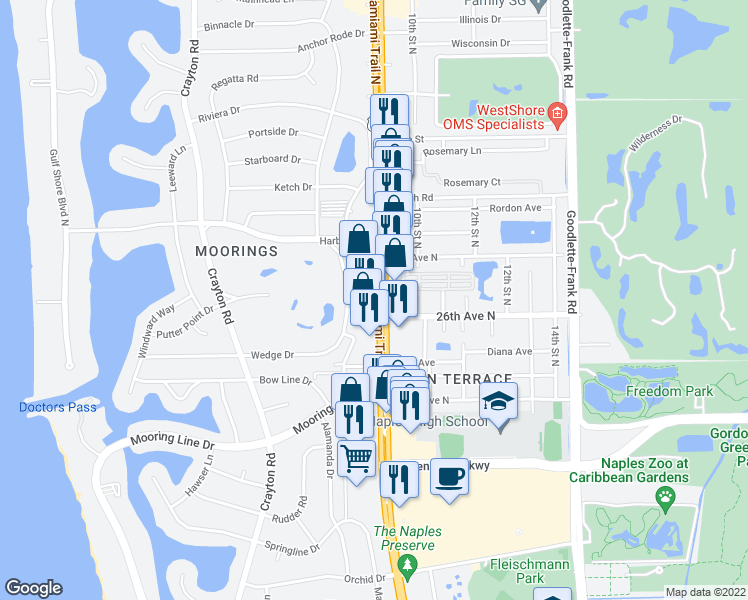 map of restaurants, bars, coffee shops, grocery stores, and more near Tamiami Trail in Naples