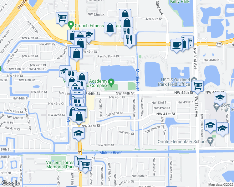 map of restaurants, bars, coffee shops, grocery stores, and more near 4381 Northwest 36th Avenue in Fort Lauderdale