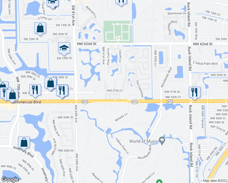 map of restaurants, bars, coffee shops, grocery stores, and more near 5600-5698 NW 59th Ave in Tamarac