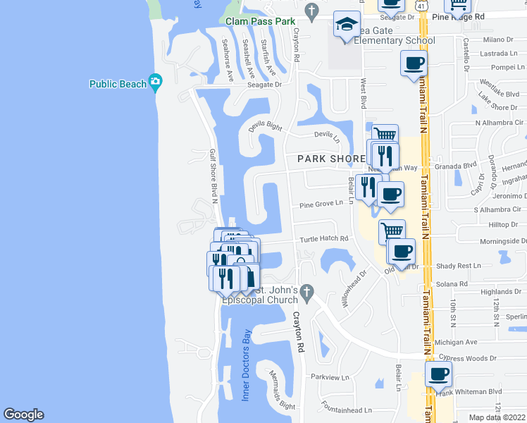 map of restaurants, bars, coffee shops, grocery stores, and more near 308 Neapolitan Way in Naples